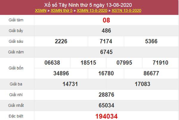 Dự đoán XSTN 20/8/2020 chốt KQXS Tây Ninh thứ 5